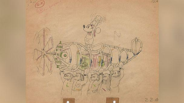 PHOTO: An animation drawing from 'The Mail Pilot' from Walt Disney Studios, 1933 created with graphite and colored pencil on paper, matted and framed. Estimate: $1,000-1,500. (Walt Disney Studios )