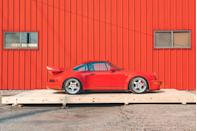 """<p>The 964 Carrera RS 3.8 was far more than big tires and pretty aero. It was a car made for street use with aluminum doors and body parts in place of steel, just like the Cup car. Its door panels, windows, and carpet were thinner to reduce weight, and luxuries like air conditioning, power steering, and even the armrests were nixed. Less weight, more power, better grip. This is one of 55 built, and it has fewer than 3000 miles on the odometer. It's rare, but it's for sale, as well as other incredibly maintained Porsches in the <a href=""""https://roadscholars.com/current-offerings/"""" rel=""""nofollow noopener"""" target=""""_blank"""" data-ylk=""""slk:Road Scholars collection"""" class=""""link rapid-noclick-resp"""">Road Scholars collection</a>.</p>"""