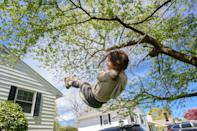 """<p>Tree swings are a budget-friendly way to get your kids outside as the weather warms up. I grew up swinging on my neighbor's tree swing, watching the birds and the grasshoppers, and it's a fond memory that I cherish to this day.</p><p>All you really need for a good tree swing is a sturdy branch at <a href=""""https://bigyardfun.com/is-my-tree-strong-enough-for-a-swing/#:~:text=Your%20tree%20should%20be%20at,see%20how%20the%20branch%20responds."""" rel=""""nofollow noopener"""" target=""""_blank"""" data-ylk=""""slk:least 8 inches in diameter"""" class=""""link rapid-noclick-resp"""">least 8 inches in diameter</a>, according to Big Yard Fun, a solid rope, and a fun seat. After that, it's all swinging, all summer. To help find the safest, sturdiest tree swings for kids, I scoured the internet, talked to parents and manufacturers, and even polled my own kids for their favorite picks. These are the best backyard tree swings your kids will be begging for.<br></p>"""