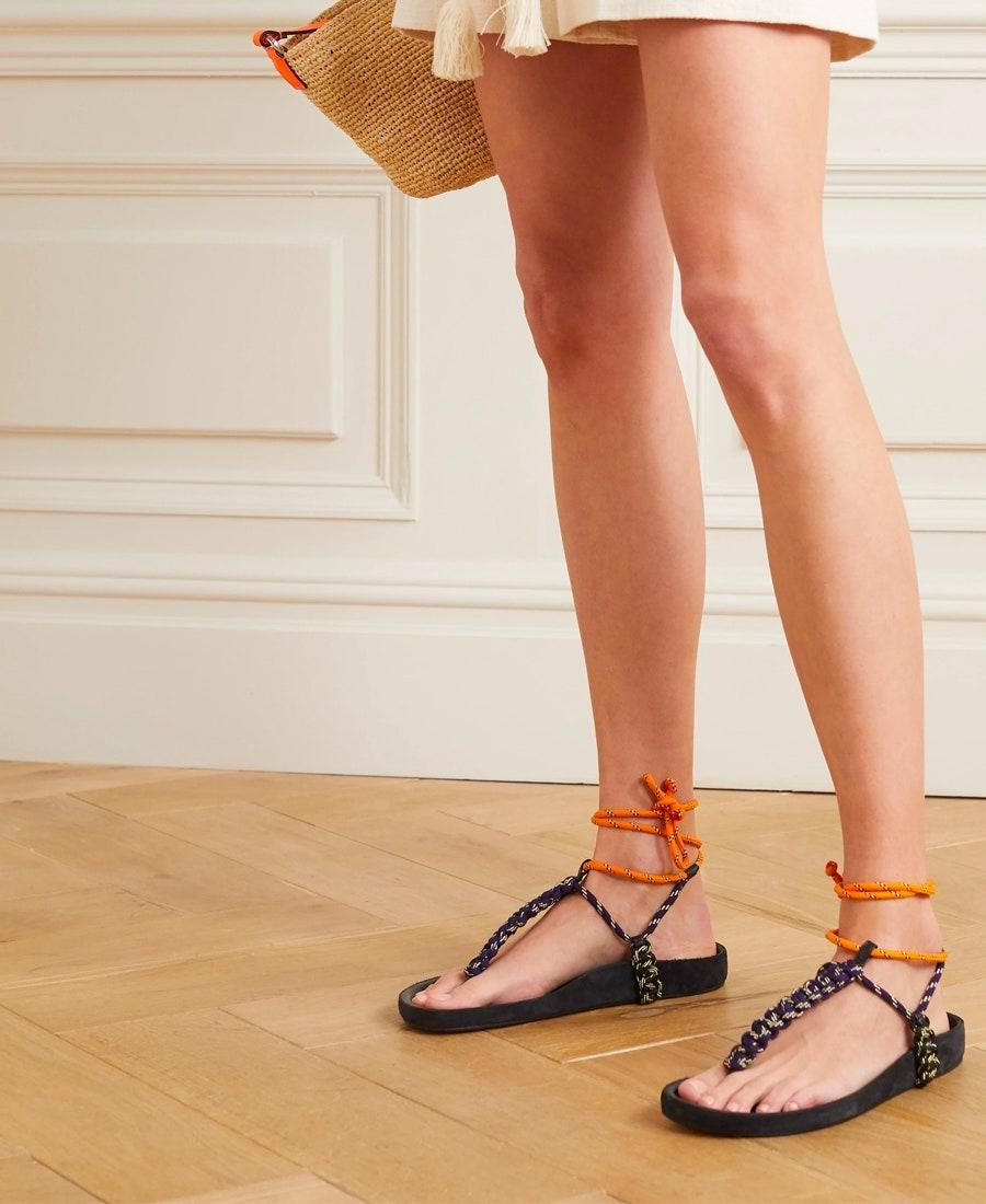 """Dreaming of an outdoor adventure? You can start practicing your knot-tying with these lace-up sandals. $580, Net-a-Porter. <a href=""""https://www.net-a-porter.com/en-us/shop/product/isabel-marant/loreco-leather-trimmed-braided-sandals/1239829"""" rel=""""nofollow noopener"""" target=""""_blank"""" data-ylk=""""slk:Get it now!"""" class=""""link rapid-noclick-resp"""">Get it now!</a>"""