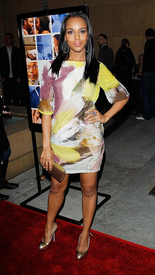 """Kerry Washington worked the arrivals line at the premiere of """"Mother & Child"""" in a to-die-for dress courtesy of J. Mendel. Michael Tran/<a href=""""http://www.filmmagic.com/"""" target=""""new"""">FilmMagic.com</a> - April 19, 2010"""
