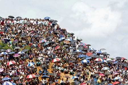 FILE PHOTO: Rohingya refugees gather to mark the second anniversary of the exodus at the Kutupalong camp in Cox's Bazar