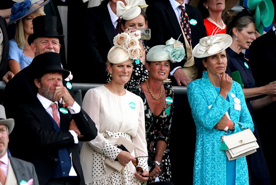 Zara Tindall (left), Dolly Maude and Anna Lisa Balding (right) react as they watch the King's Stand Stakes during day one of Royal Ascot at Ascot Racecourse. Picture date: Tuesday June 15, 2021.