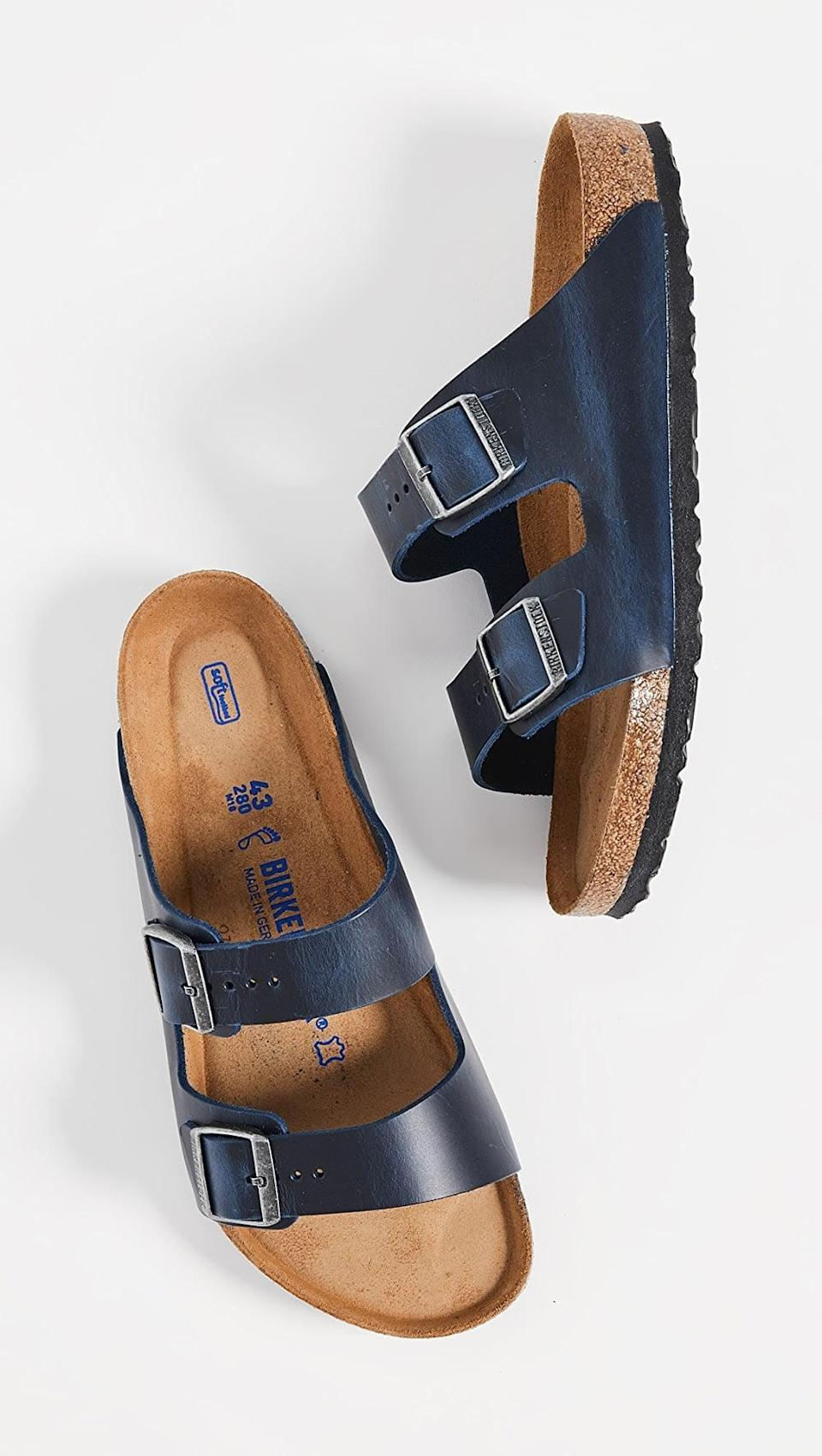 <p>These <span>Birkenstock Arizona SFB Sandals</span> ($135) will always be a part of their wardrobe.</p>
