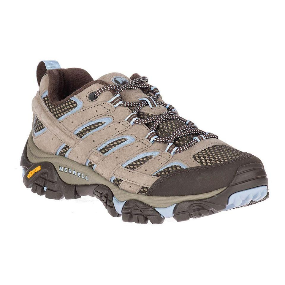 "<p><strong>Merrell</strong></p><p>zappos.com</p><p><strong>$99.95</strong></p><p><a href=""https://go.redirectingat.com?id=74968X1596630&url=https%3A%2F%2Fwww.zappos.com%2Fp%2Fmerrell-moab-2-vent%2Fproduct%2F8807432&sref=https%3A%2F%2Fwww.prevention.com%2Ffitness%2Fworkout-clothes-gear%2Fg19791835%2Fbest-hiking-shoes-for-women%2F"" rel=""nofollow noopener"" target=""_blank"" data-ylk=""slk:Shop Now"" class=""link rapid-noclick-resp"">Shop Now</a></p><p>Merrell's Moab is known as the ""mother of all boots"" for a reason: It's just about the best hiking shoe you can find anywhere, especially for less than $100. Mesh uppers and side panels ensure <strong>feet stay cool during warm-weather hikes</strong>, while protective toe caps keep trail debris and water out. There's generous arch and heel support, meaning even vertical, rocky paths are no issue. Plus, these bestsellers have that perfect outdoorsy look to them—they're the total package.</p>"