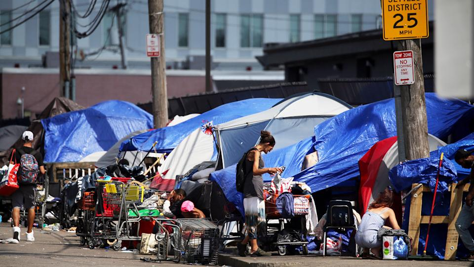 Tents and makeshift shelters line Topeka Street in the area known as Mass and Cass in Boston, MA on September 08, 2021. (Craig F. Walker/The Boston Globe via Getty Images)