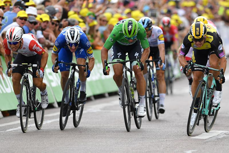 Caleb Ewan, Elia Viviani, Peter Sagan and Dylan Groenewegen sprint at the 2019 Tour de France