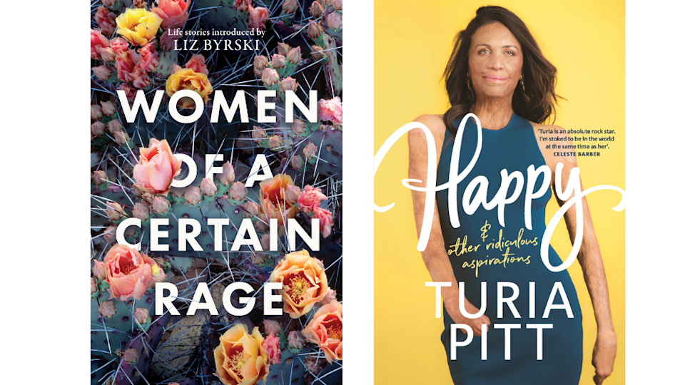 The covers of two International Women's day books; women of a certain rage and happy and other ridiculous aspirations