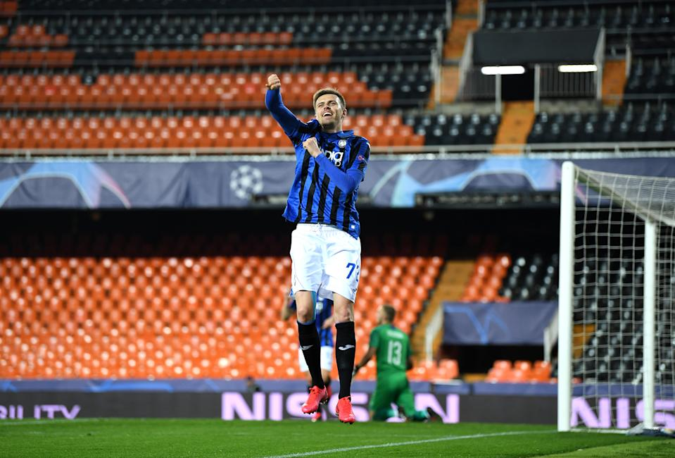 Atalanta's Josip Iličić celebrates after scoring his fourth goal in an empty Mestalla Stadium in the Champions League. (Photo by UEFA Pool/Getty Images)