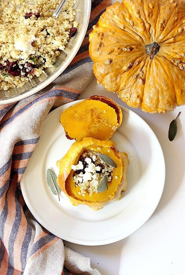 "<p>It doesn't get much more autumnal than this recipe! Roasted squash pairs with creamy goat cheese and tangy cranberries to give you the dinner of your dreams.</p> <p><strong>Get the recipe</strong>: <a href=""https://delightfulmomfood.com/stuffed-squash-recipe/"" class=""link rapid-noclick-resp"" rel=""nofollow noopener"" target=""_blank"" data-ylk=""slk:stuffed squash with quinoa, cranberries, and goat cheese"">stuffed squash with quinoa, cranberries, and goat cheese</a></p>"