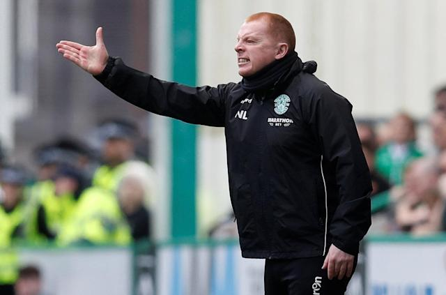 Soccer Football - Scottish Premiership - Hibernian v Celtic - Easter Road, Edinburgh, Britain - April 21, 2018 Hibernian manager Neil Lennon reacts REUTERS/Russell Cheyne
