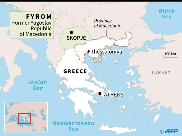 Map showing the Greek province of Macedonia and the former Yugoslav Republic of Macedonia