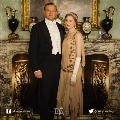 Downton Abbey promotional photo with water bottle in background
