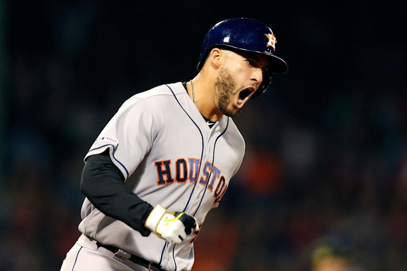 ee9c42752 Houston Astros  George Springer reacts after hitting a two-run home run  during the