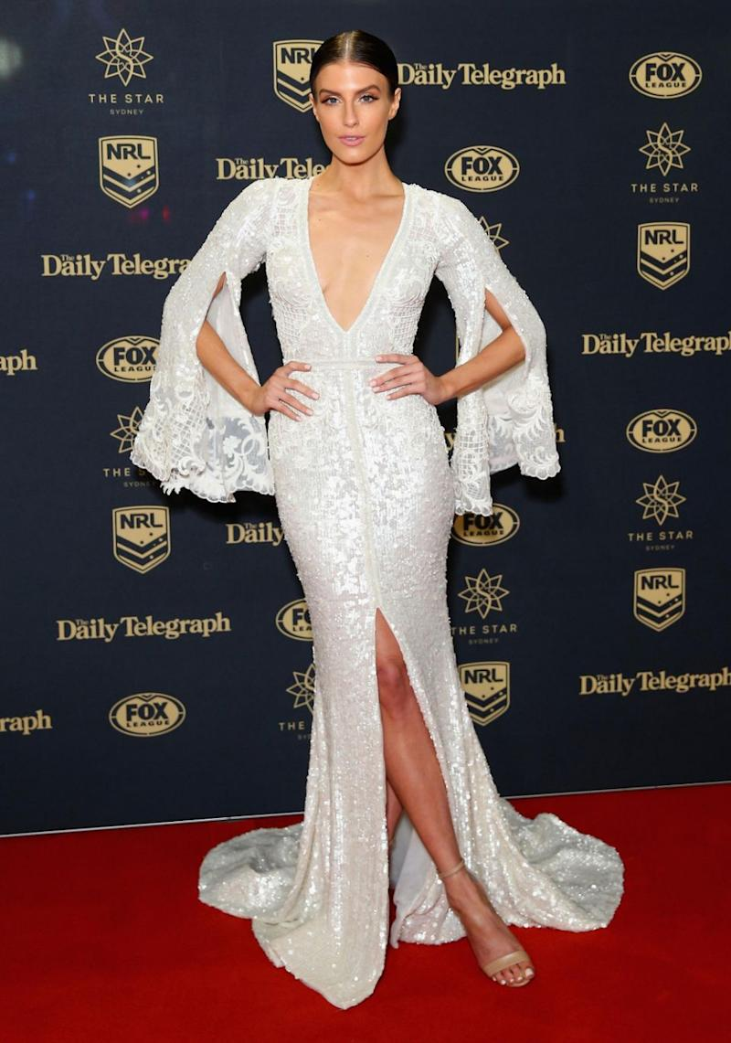 Erin Holland reveals lots of Hollywood tape avoided a nip slip at the 2017 Dally M Awards in Sydney on Wednesday night. Source: Getty