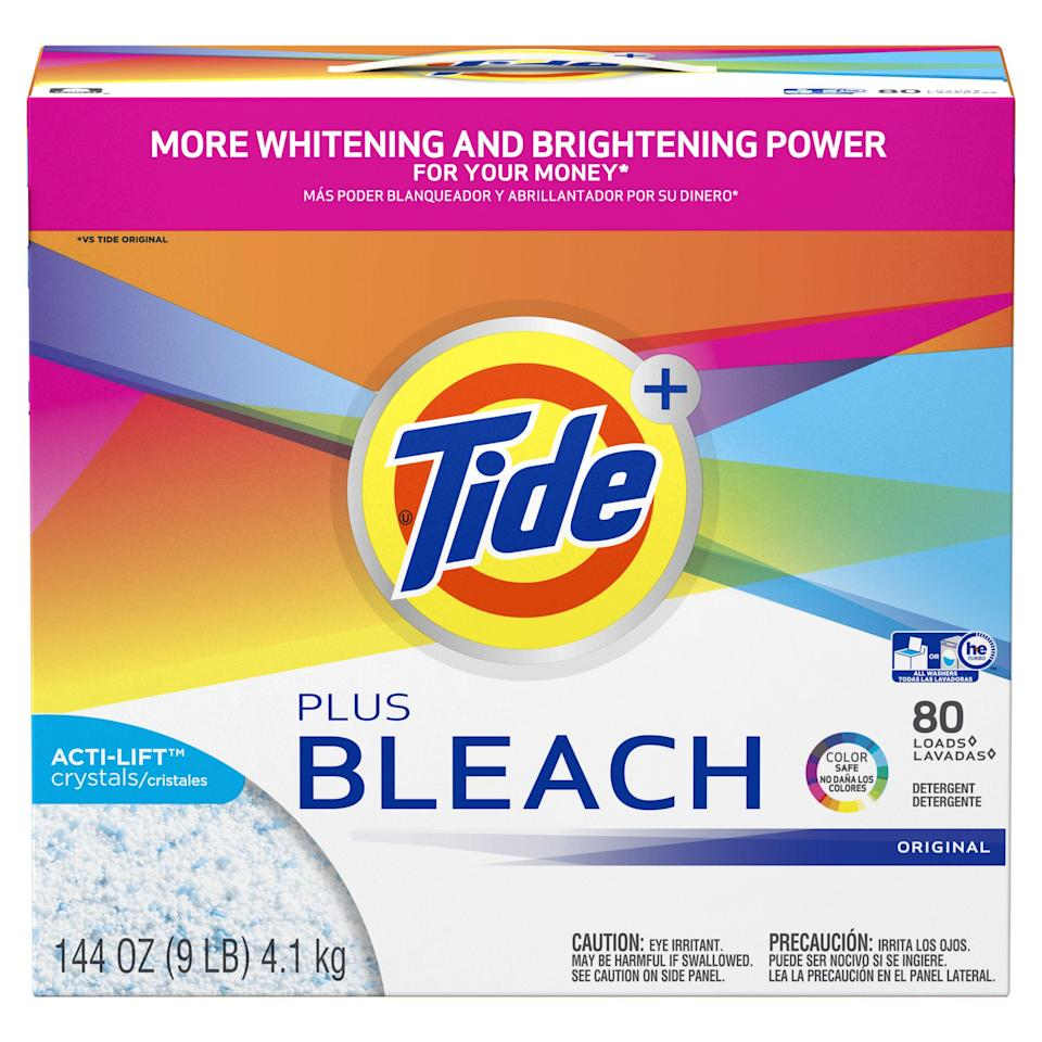 """<p><strong>Tide</strong></p><p>walmart.com</p><p><strong>$18.96</strong></p><p><a href=""""https://go.redirectingat.com?id=74968X1596630&url=https%3A%2F%2Fwww.walmart.com%2Fip%2F34763227&sref=https%3A%2F%2Fwww.goodhousekeeping.com%2Fhome-products%2Flaundry-detergents%2Fg375%2Fbest-laundry-detergent%2F"""" rel=""""nofollow noopener"""" target=""""_blank"""" data-ylk=""""slk:Shop Now"""" class=""""link rapid-noclick-resp"""">Shop Now</a></p><p>There's no beating Tide Plus Bleach Powder, which works just as well in cold water as hot. It also<strong> gives clothes a splash of color-safe bleach to make your whites and colors brighter </strong>with every cycle. It does not contain chlorine bleach so that's what makes it safe for all washable fabrics and colors. </p>"""
