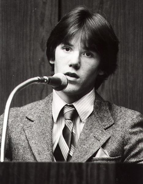 FILE - This is a 1981 file photo of Steven Stayner as he testifies about his abduction in 1972 by Kenneth Eugene Parnell and his seven years in captivity. Stayner was kidnapped in 1972 while walking home from school at age 7 in Merced, California. After Stayner escaped captivity in 1980, Kenneth Eugene Parnell was convicted of kidnapping him and a second boy, 5-year-old Timmy White and sentenced to seven years in prison. Stayner died in a motorcycle accident in 1989 at age 24. (AP Photo/File)