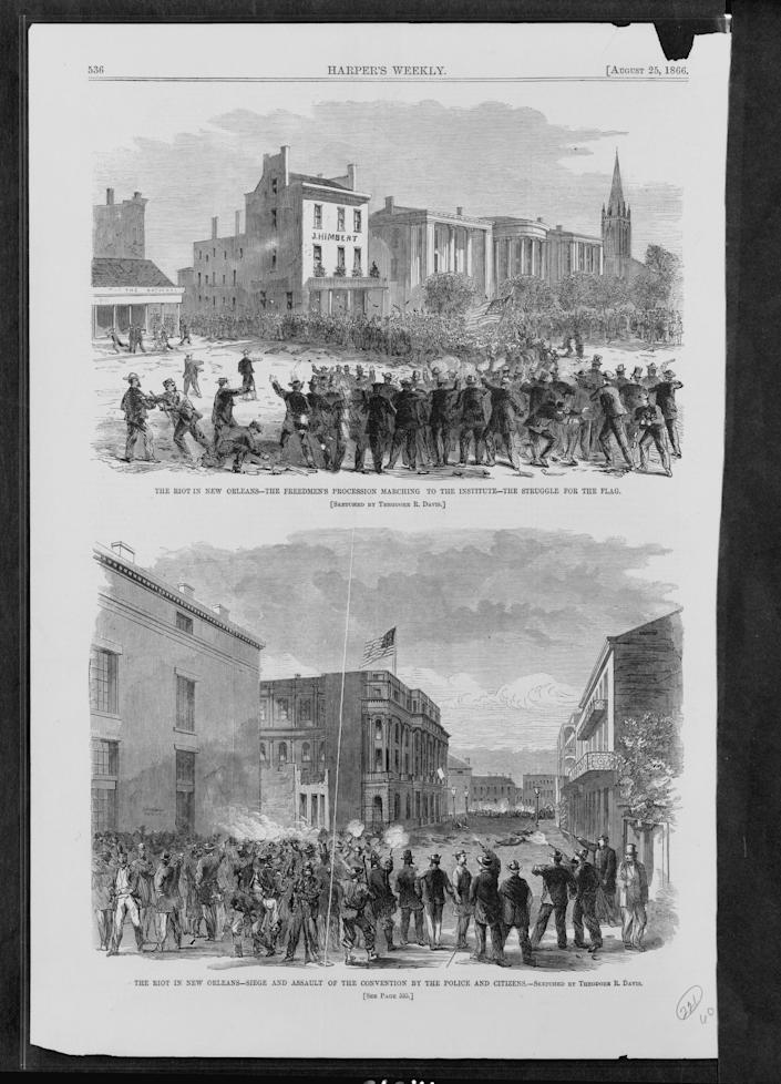 Illustrations from Harper's Weekly show the New Orleans race massacre of 1866. Sketched by Theodore R. Davis from Harper's Weekly.
