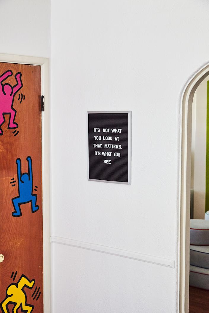 Last but not least, a little Keith Haring on the door and a little Henry David Thoreau on the wall.