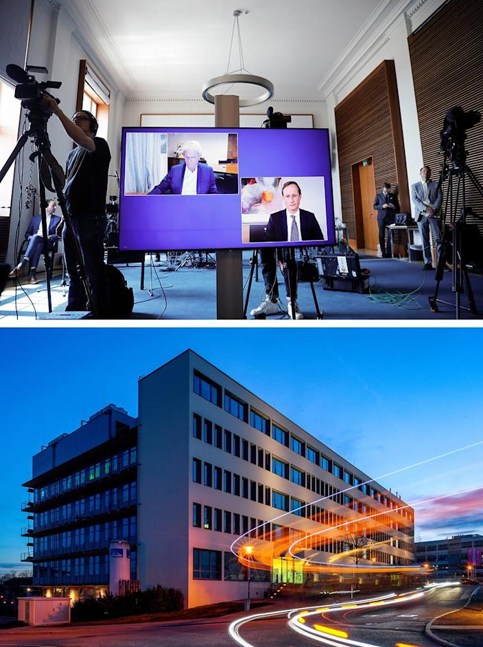 Top: CureVac main shareholder Dietmar Hopp, left, and CureVac CEO Franz-Werner Haas, right, during a news conference with German Economy Minister Peter Altmaier on June 15, 2020. Below: The CureVac headquarters in Tubingen, Germany.
