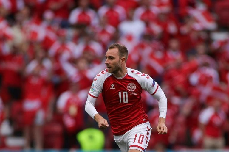 Christian Eriksen in action in the Euro 2020 match shortly before he slumped to the turf