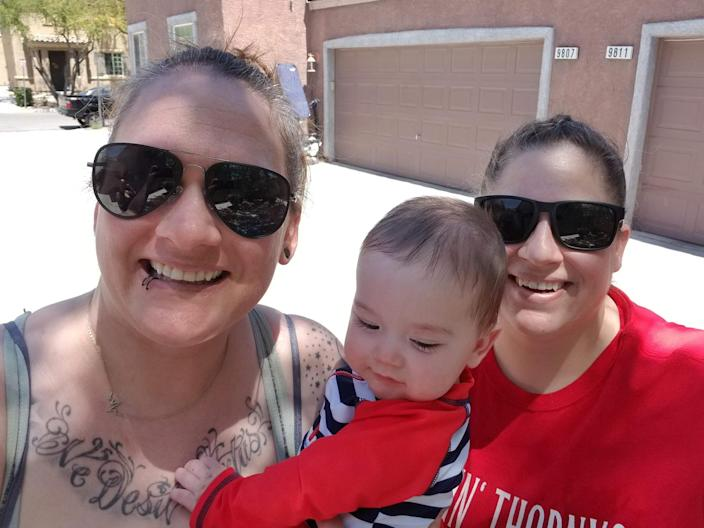 Amy and Robyn Malofy are pictured with their baby girl, Penelope. Amy Malofy had no choice but to leave her job during the coronavirus pandemic. (Courtesy Amy and Robyn Malofy)