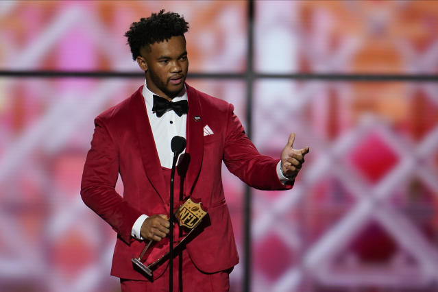 CORRECTS TO OFFENSIVE ROOKIE, NOT OFFENSIVE PLAYER - AP Offensive Rookie of the Year Arizona Cardinals' Kyler Murray speaks at the NFL Honors football award show Saturday, Feb. 1, 2020, in Miami. (AP Photo/David J. Phillip)