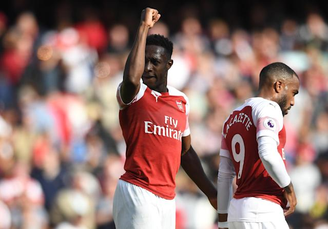 Arsenal's Danny Welbeck celebrates after scoring a goal during the English Premier League match