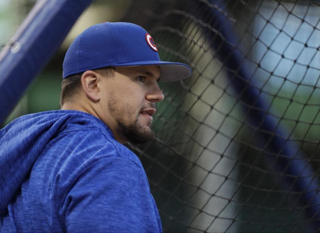 Chicago Cubs outfielder Kyle Schwarber had an adventurous opening day. (AP)