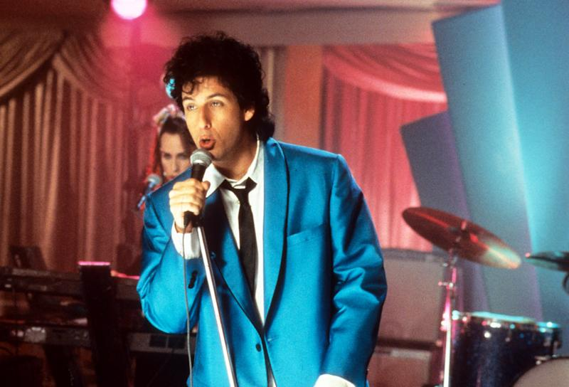 Adam Sandler sings in a scene from the film 'The Wedding Singer', 1998. (Photo by New Line Cinema/Getty Images)