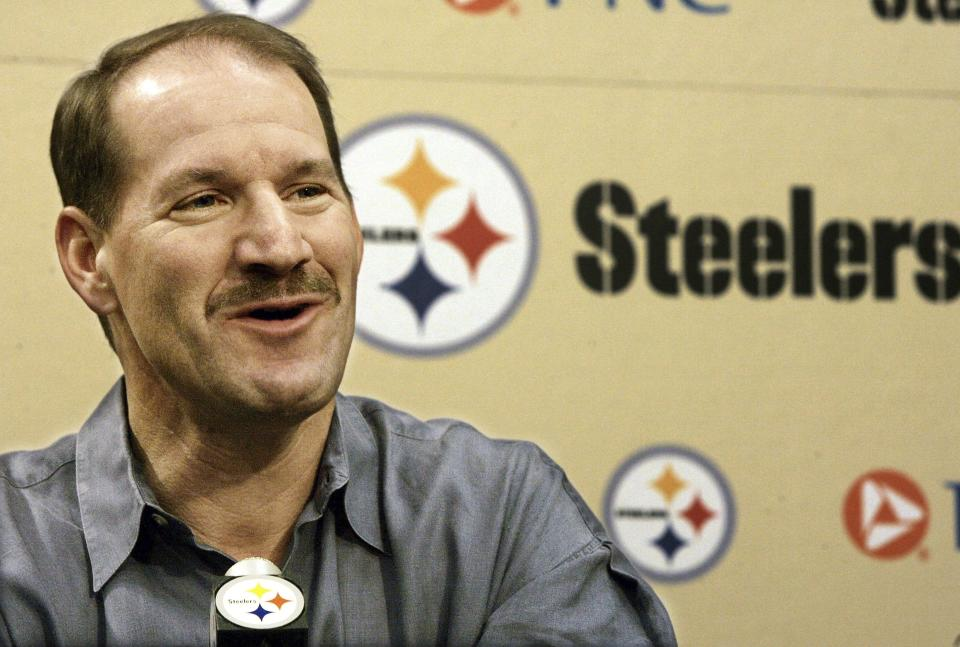 FILE - Pittsburgh Steelers coach Bill Cowher answers questions during his weekly news conference at the team facility in Pittsburgh, in this Tuesday, Jan. 17, 2006, file photo. Cowher, who won 149 games and a Super Bowl in 15 seasons with the Pittsburgh Steelers from 1992-2006, will be inducted into the Pro Football Hall of Fame next month. (AP Photo/Keith Srakocic, File)