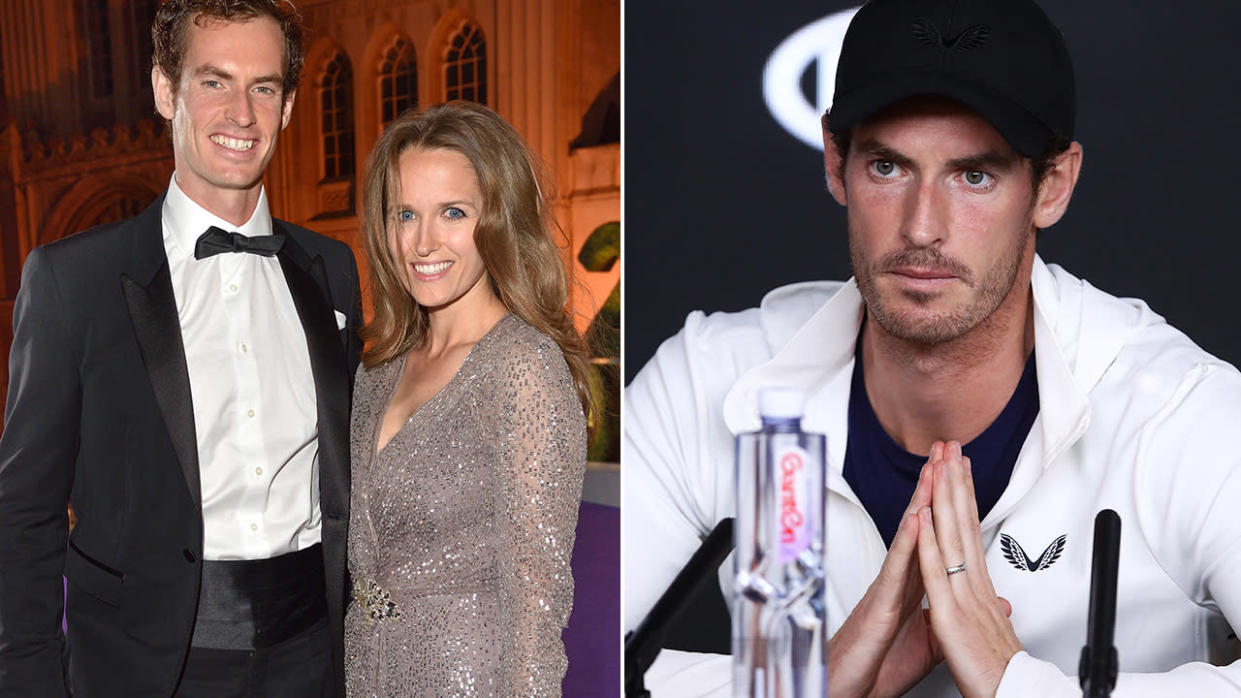 Andy Murray and wife Kim. Image: Getty