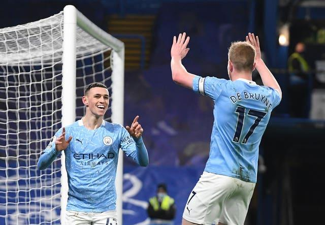 Phil Foden, left, celebrates with Kevin De Bruyne after scoring in a 3-1 win at Chelsea in early January. After a slow start to the season, City comfortably regained the Premier League title from Liverpool. De Bruyne was once again instrumental in the success of Pep Guardiola's side, while fellow creative midfielder Foden underlined his status as arguably England's brightest prospect with a string of standout performances across the campaign
