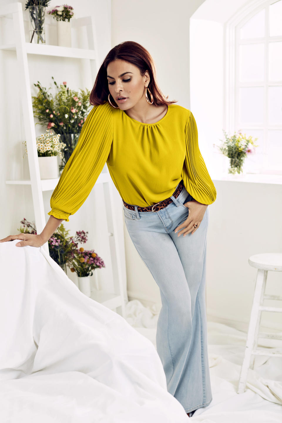 Eva Mendes x New York & Company Layla Blouse and Carie Denim Wide Leg Pant (Photo: New York & Company)