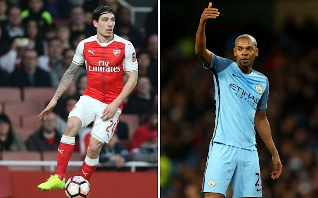 <span>It's Hector Bellerin vs Fernandinho at the Emirates on Sunday. And also Arsenal vs Man City</span> <span>Credit: REX </span>