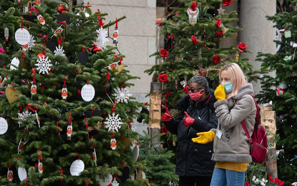 Two people wearing face masks look at a display of Christmas trees at Covent Garden, London - Dominic Lipinski/PA Wire