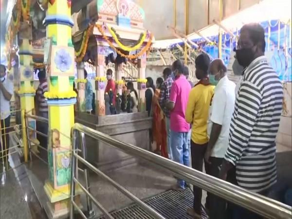 People outside a temple in Hyderabad to celebrate Dussehra (Photo/ANI)
