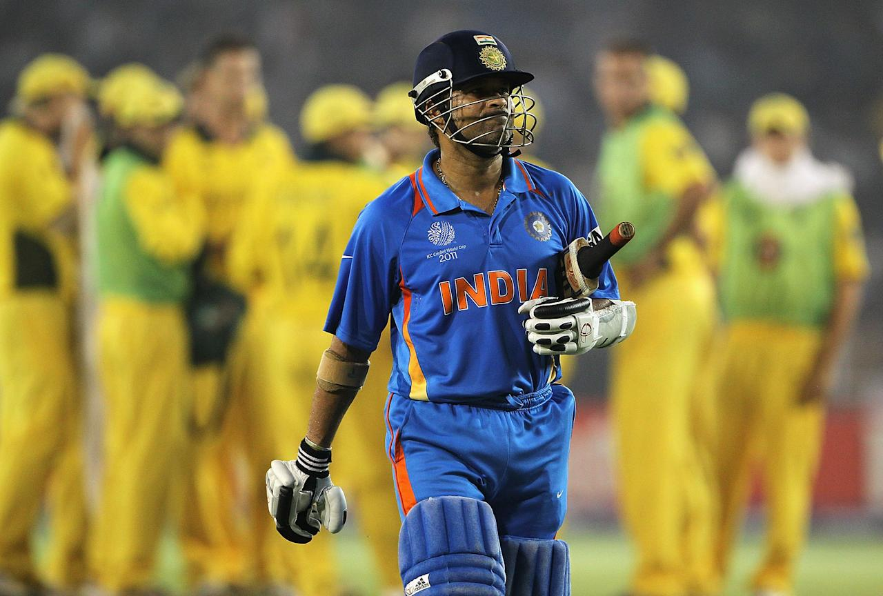 March 24, 2011: Sachin Tendulkar c Brad Haddin b Shaun Tait 53 (68) in the World Cup quarter-final at Ahmedabad. Then captain Ricky Ponting's 104 helped Australia set India a target of 261; which they achieved in the 48th over with five wickets to spare. Tendulkar, Gautam Gambhir and Man-of-the-Match Yuvraj Singh all scored half-centuries. (Photo by Matthew Lewis/Getty Images)