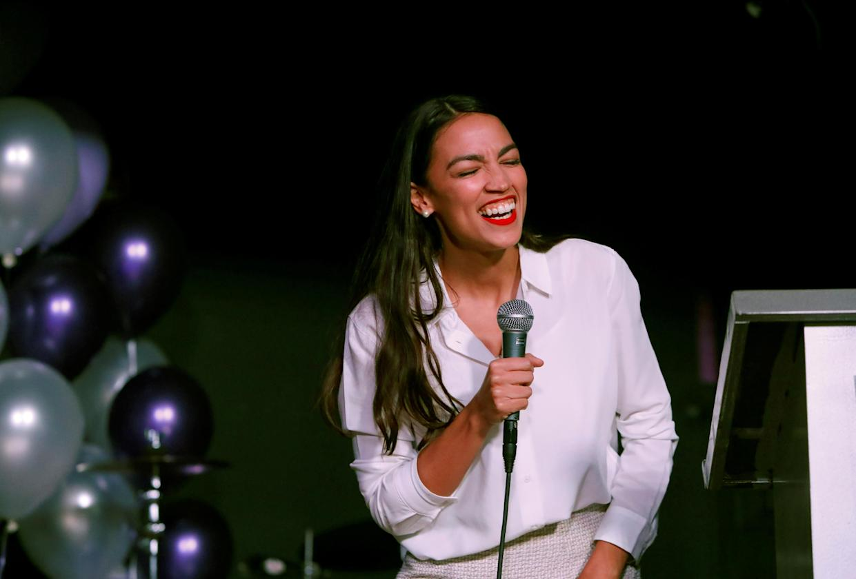 Democratic congressional candidate Alexandria Ocasio-Cortez speaks at her midterm election night party in New York City, U.S. November 6, 2018. (Photo: Andrew Kelly/Reuters)