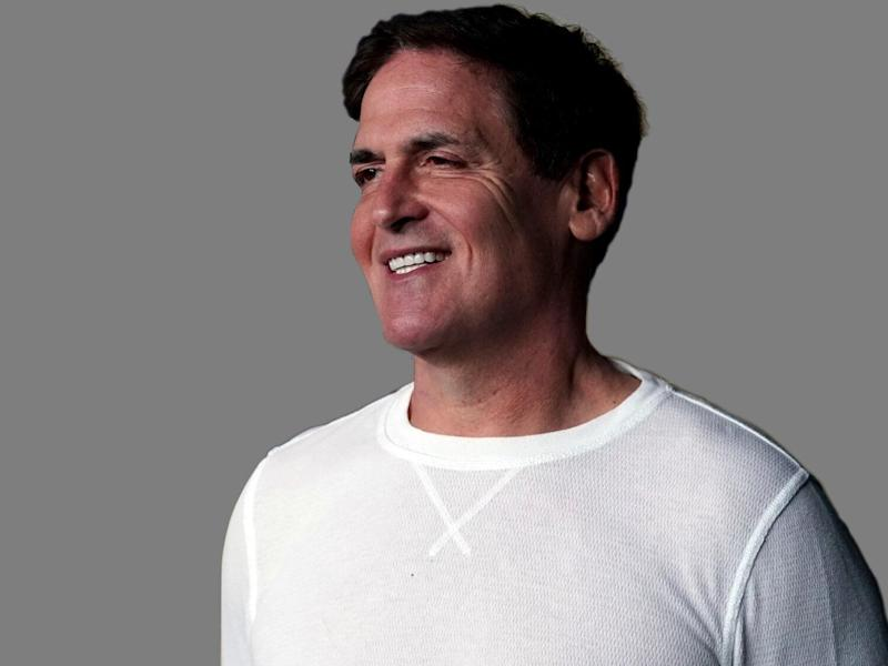 Mark Cuban headshot, as Dallas Mavericks owner, graphic element on gray
