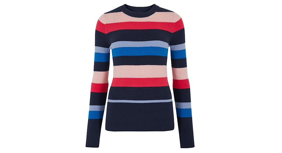 Soft Touch Striped Textured Fitted Jumper