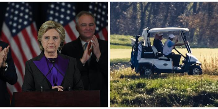 clinton concession and trump plays golf