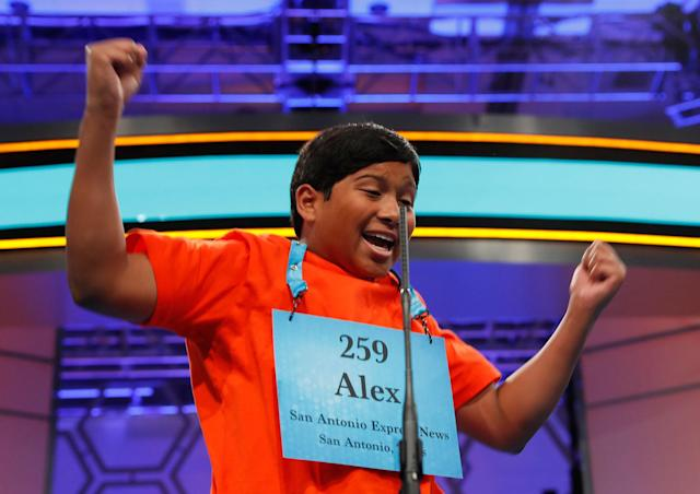 <p>Alex Iyer, 14, from San Antonio, Texas, reacts after spelling his word correctly during the 90th Scripps National Spelling Bee, Thursday, June 1, 2017, in Oxon Hill, Md. (AP Photo/Alex Brandon) </p>