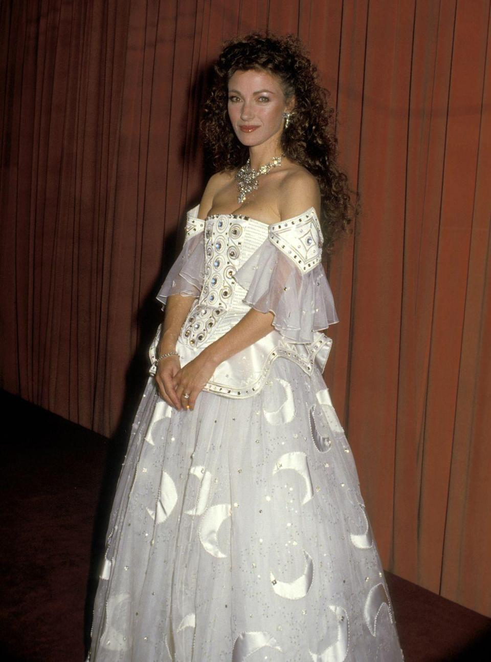 <p>In 1987, this Bond girl was ethereal in this off-the-shoulder gown featuring moon and star embroidery. </p>