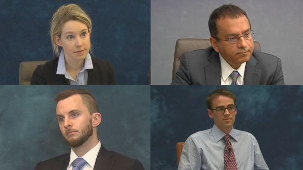 "From left to right, Theranos CEO Elizabeth Holmes, Ramesh ""Sunny"" Balwani, her brother Christian and whistleblower Tyler Shultz are seen here during their depositions. (Obtained by ABC News)"