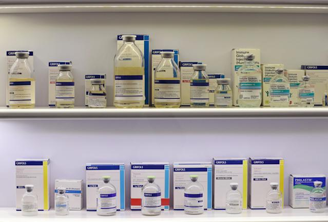 Grifols's medicines are displayed at their headquarters in Sant Cugat del Valles, near Barcelona, Spain May 25, 2018. Picture taken May 25, 2018. REUTERS/Albert Gea