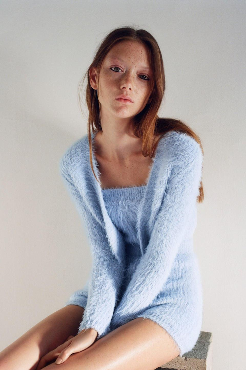 <p>Zara's baby-blue <span>Soft Touch Cardigan</span> ($36) and <span>Soft Feel Cropped Top</span> ($20) are adorable.</p>