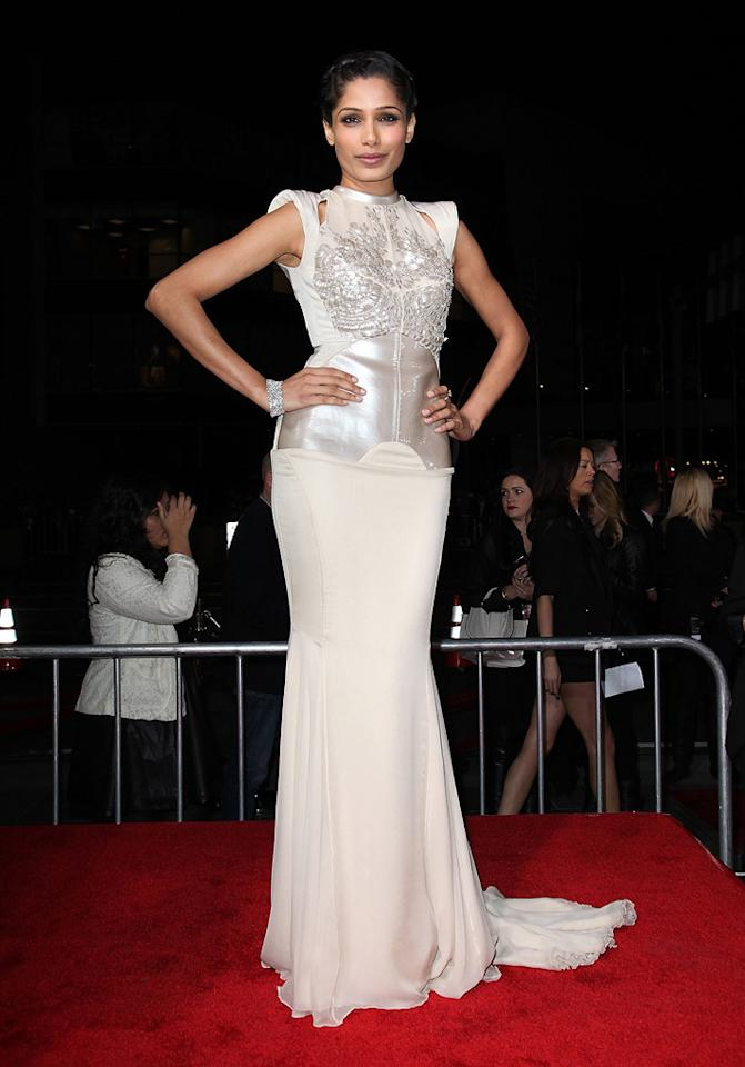 """<a href=""""http://movies.yahoo.com/movie/contributor/1810042390"""">Freida Pinto</a> at the Los Angeles premiere of <a href=""""http://movies.yahoo.com/movie/1810150710/info"""">Immortals</a> on November 7, 2011."""