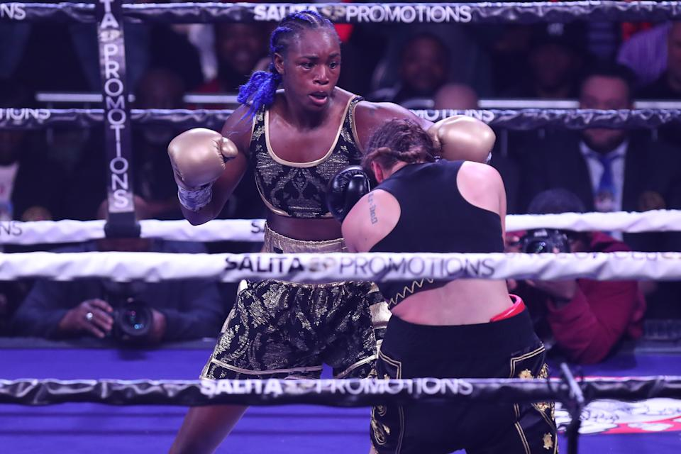 ATLANTIC CITY, NJ - JANUARY 10: Claressa Shields lands a left hand against Ivana Habazin during their fight on January 10, 2020 at Ocean Casino Resort in Atlantic City, New Jersey. (Photo by Edward Diller/Getty Images)