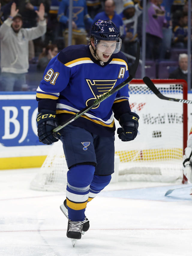 St. Louis Blues' Vladimir Tarasenko, of Russia, celebrates after scoring during the second period of an NHL hockey game against the Vegas Golden Knights Thursday, Nov. 1, 2018, in St. Louis. (AP Photo/Jeff Roberson)